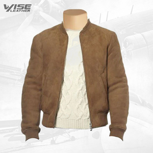 Suede Leather Bomber Jacket With Ribbed Collar - Wiseleather