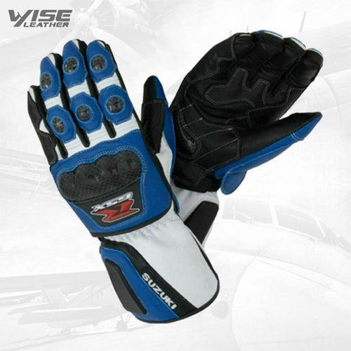 Suzuki GSXR Motorbike Racing Leather Gloves