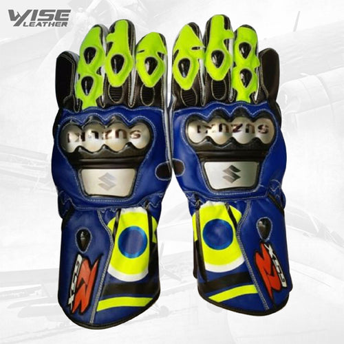 Suzuki Motorbike Leather MotoGp Racing Gloves