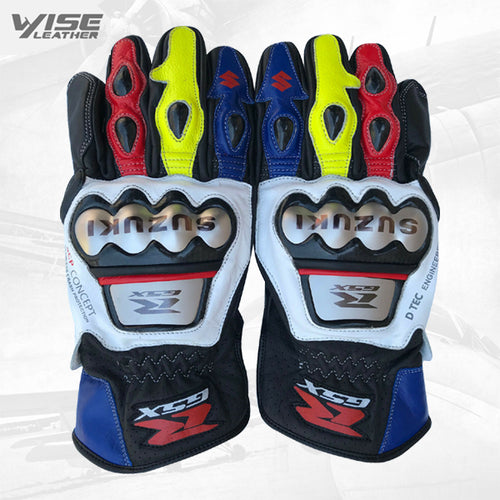 Suzuki Motorbike Leather Motogp Riding Gloves