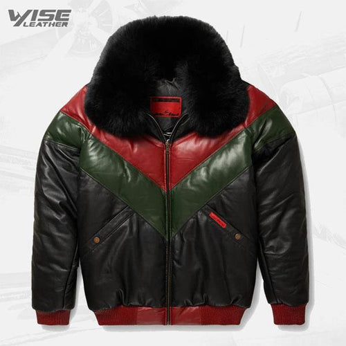 Red Green And Black V-Bomber Leather Jacket