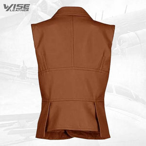 Timeless One Button Tan Leather Vest - Wiseleather