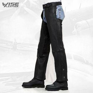 Unisex Black Leather Motorcycle biker Chaps zipout liner, elastic comfort Thighs CLOSEOUT - Wiseleather