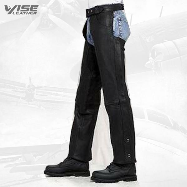 Unisex Black Leather Motorcycle biker Chaps zipout liner, elastic comfort Thighs CLOSEOUT