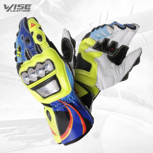 Valentino Rossi 2018 Motogp VR46 Leather Motorbike Racing Gloves