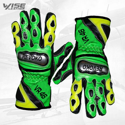 Valentino Rossi Motogp VR46 Leather Motorbike Racing Leather Glove