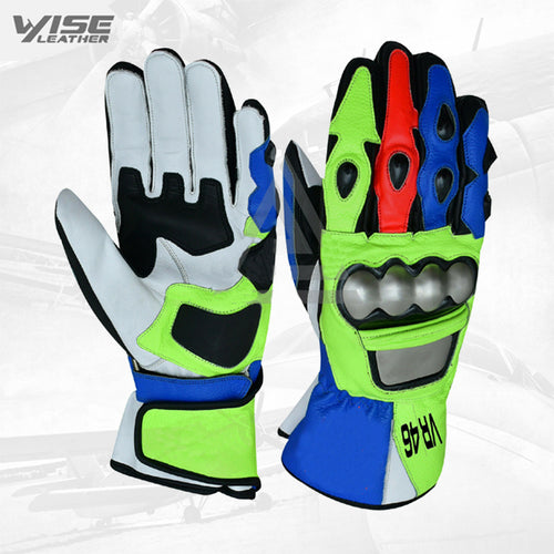 Valentino Rossi Motogp VR46 Leather Motorbike Racing Leather Gloves Pair