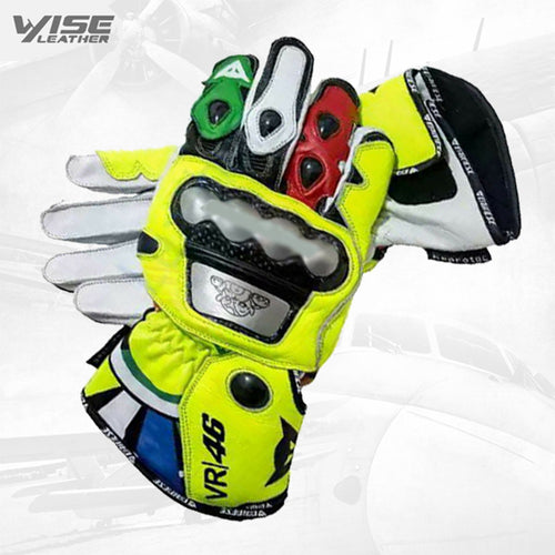 Valentino Rossi Motogp VR46 Leather Motorbike Racing Leather Gloves