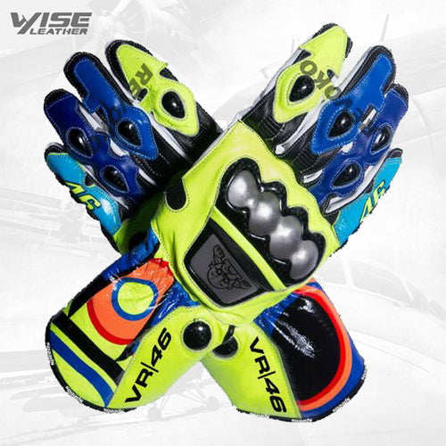 Valentino Rossi VR46 Motorbike Racing Leather Protective Gloves Racing Gloves