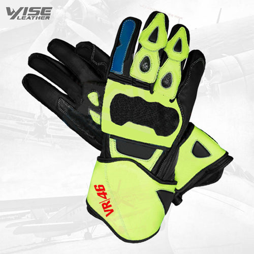 Valentino Rossi VR46 Motorbike Racing Leather Protective Gloves Racing Gloves new