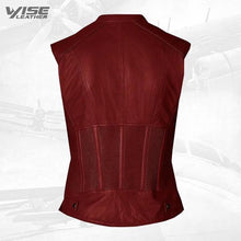Vintage Look Women Maroon Leather Vest