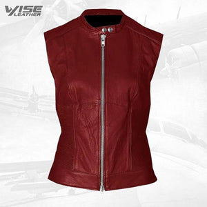 Vintage Look Women Maroon Leather Vest - Wiseleather
