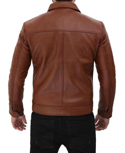 Brown Shirt Collar Casual Leather Jacket - Wiseleather