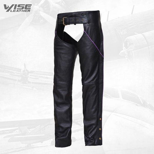 WOMEN'S PREMIUM LEATHER BLACK WITH PURPLE STRIPE MOTORCYCLE BIKER CHAPS