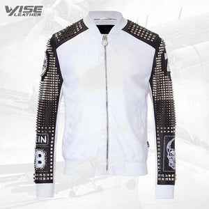 White Original Studded Punk Men Leather Jacket With Embroidery Patches - Wiseleather
