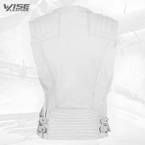 White Leather Biker Vest - Wiseleather