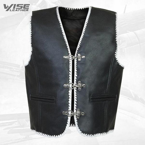 White Trim Biker Leather Vest