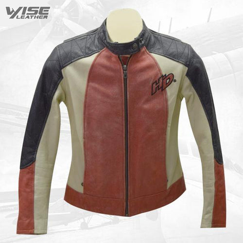 Women's Vintage Harley Davidson Black, Orange & Beige Leather Jacket