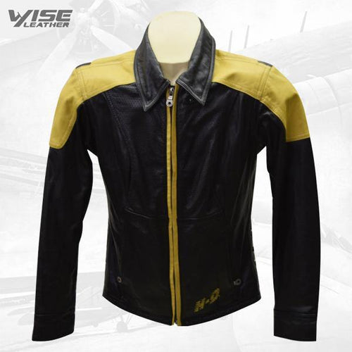 Women's Vintage Harley Davidson Yellow & Black Leather Jacket