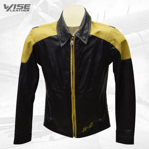 Women's Vintage Harley Davidson Yellow & Black Leather Jacket - Wiseleather