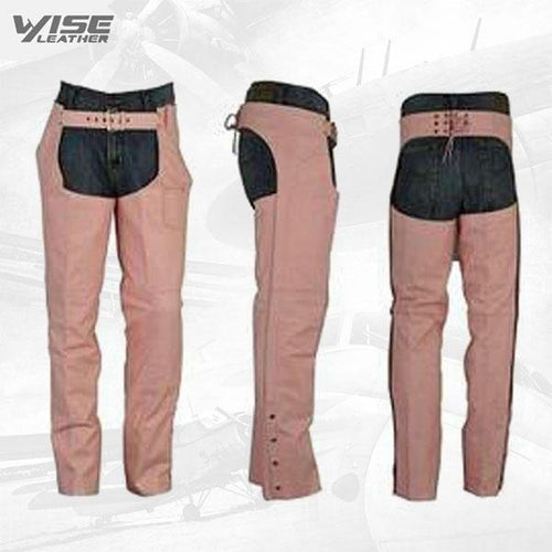 Womens PREMIUM PINK LEATHER MOTORCYCLE CHAPS