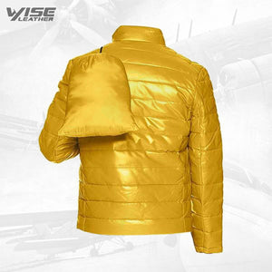 Yellow Men's Leather Packable Down Filled Puffer Jacket - Wiseleather