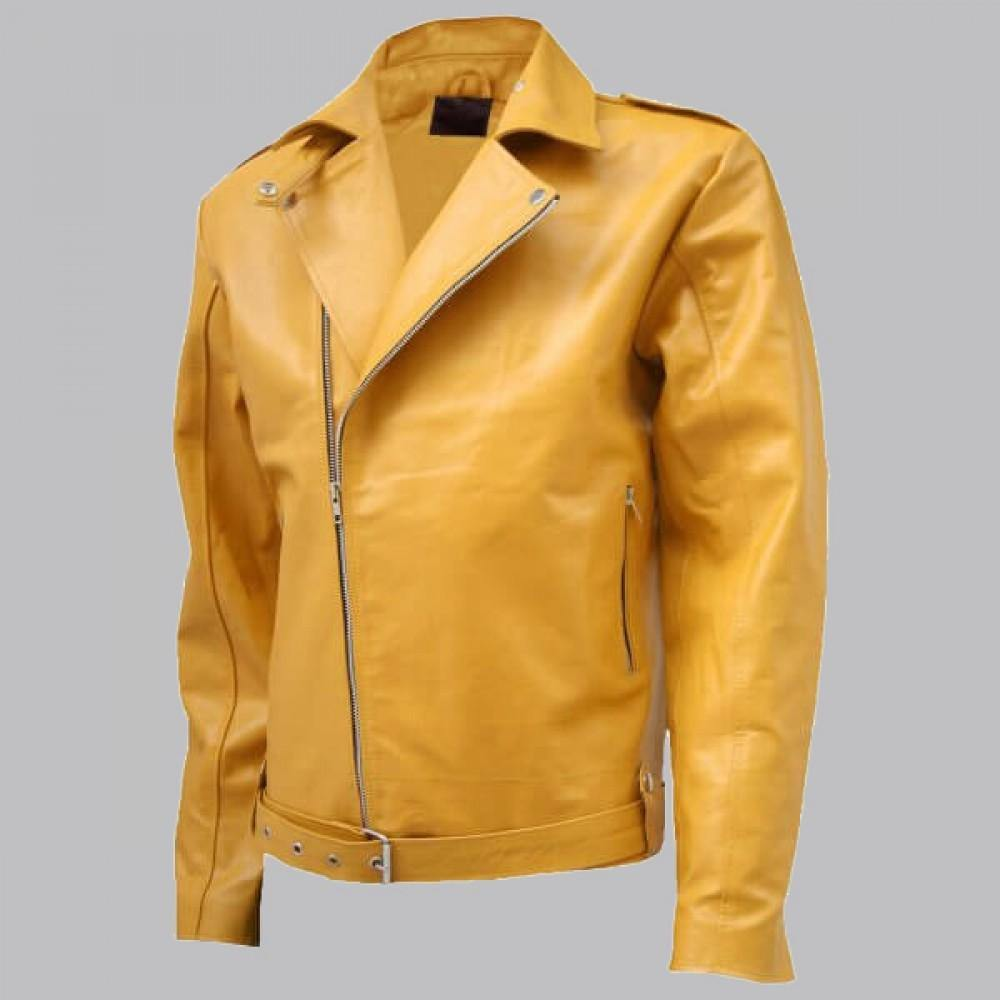 BIKER LOOK YELLOW LEATHER JACKET MEN