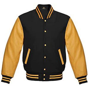 BLACK AND GOLD VARSITY JACKET - Wiseleather