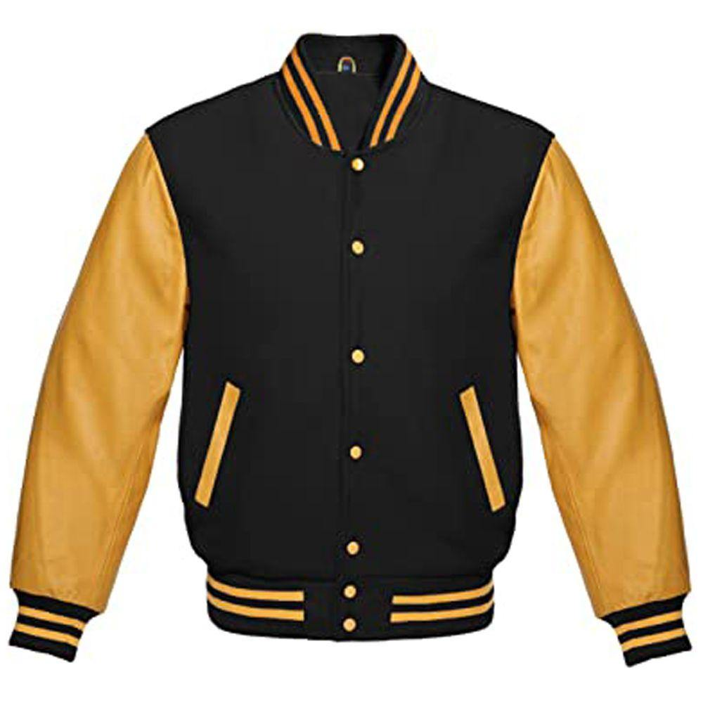 BLACK AND GOLD VARSITY JACKET