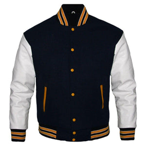 BLACK AND WHITE VARSITY JACKET - Wiseleather