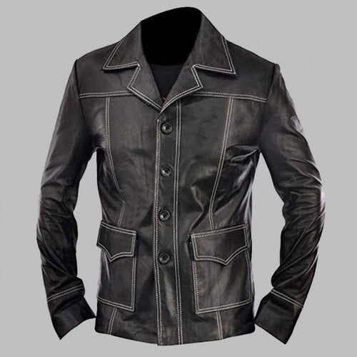 BRAD PITT INSPIRED BLACK FIGHT CLUB LEATHER JACKET