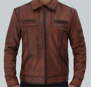 BRADFORD CASUAL LEATHER JACKET MENS - Wiseleather