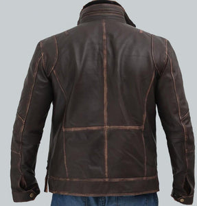 BROWN MENS DISTRESSED LEATHER MOTORCYCLE JACKET - Wiseleather