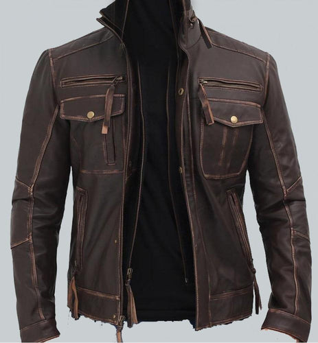 BROWN MENS DISTRESSED LEATHER MOTORCYCLE JACKET