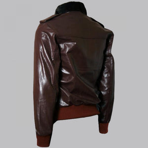 BROWN R. J. MACREADY BROWN BOMBER LEATHER JACKET - Wiseleather