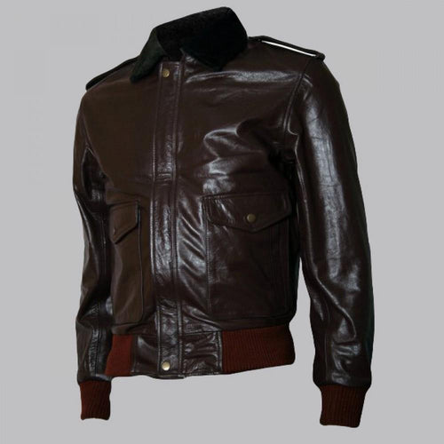 BROWN R. J. MACREADY BROWN BOMBER LEATHER JACKET