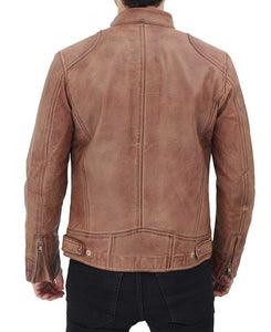 Cafe Racer Distressed Leather Jacket - Wiseleather