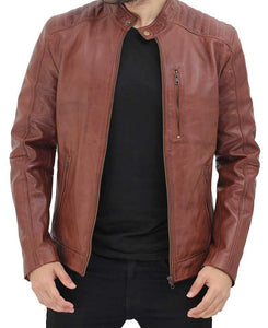 Brown Mens Shoulder Padded Leather Jacket - Wiseleather