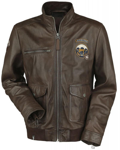 CALL OF DUTY WWII MENS BROWN LEATHER JACKET