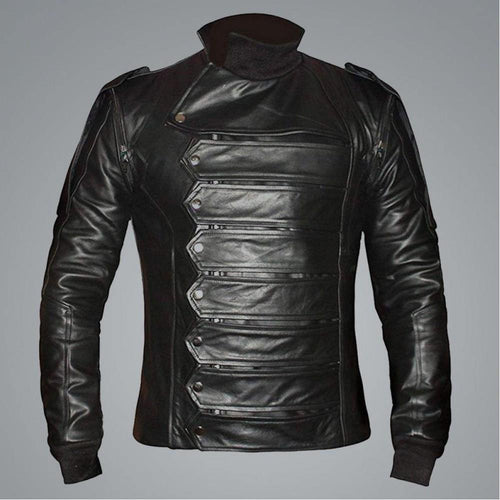 CAPTAIN AMERICA BUCKY BARNES BLACK LEATHER JACKET