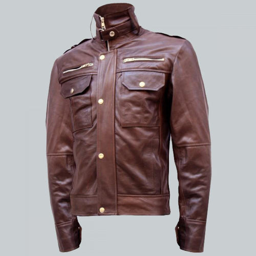 CHOCOLATE BROWN LEATHER JACKET MEN