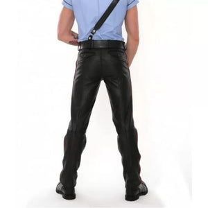 Classic Rise Waist Black Leather Pants for Men - Wiseleather