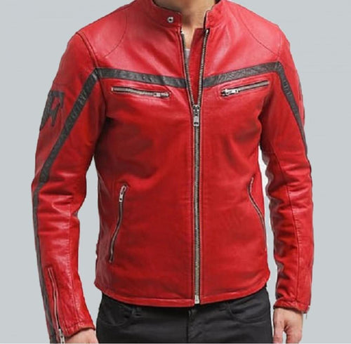COLUMBUS RED LEATHER MOTORCYCLE JACKET