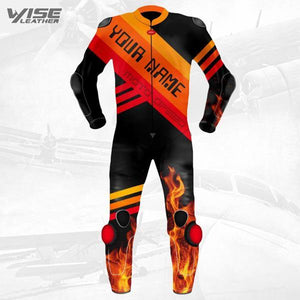 Custom MOTOGP Motorcycle Leather Suit With Fire Printing & Your Name - Wiseleather