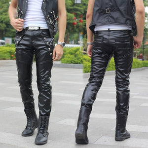 Lace-up Ambition Male Leather Pants - Wiseleather