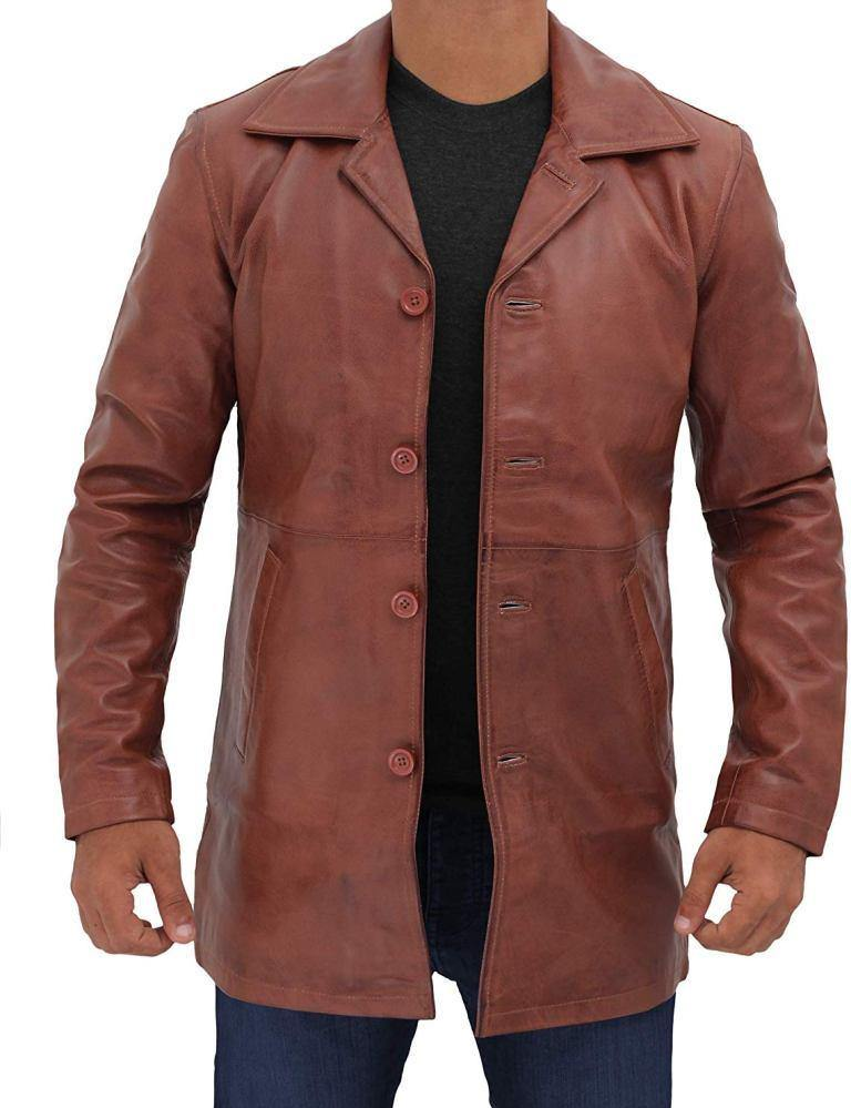 Natural Mens Distressed Leather Tan Coat