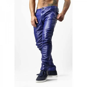 Guys Skinny Electric Blue Genuine Leather Trousers Pants - Wiseleather