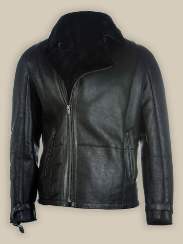 MEN PURE BLACK B3 SHEARLING JACKET