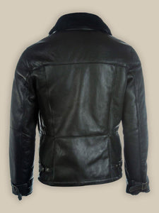 MEN PURE BLACK B3 SHEARLING JACKET - Wiseleather