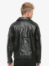 Men Checkered Leather Jacket